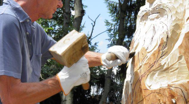 Scultore del legno in azione sul Presena