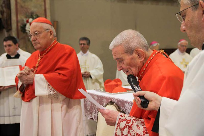 Il cardinale Loris Capovilla con il cardinale Angelo Sodano