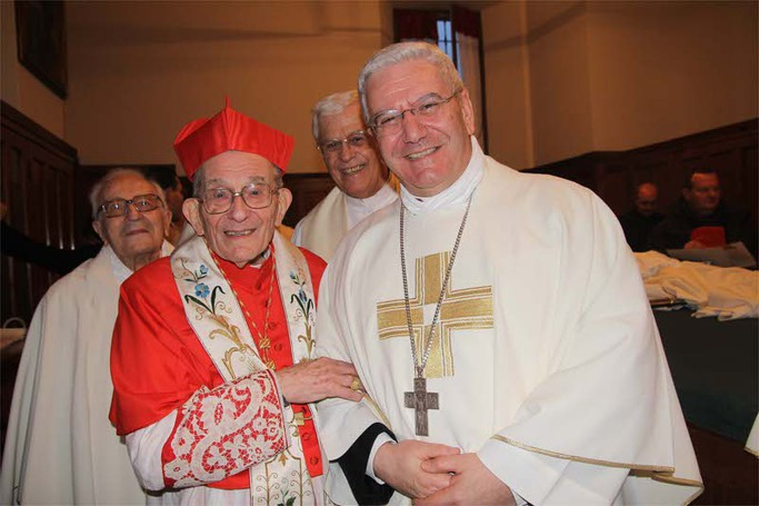 Il cardinale Loris Capovilla e il vescovo Francesco Beschi alla fine della cerimonia