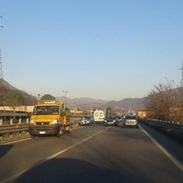 Incidente sulla superstrada Traffico in tilt in Val Seriana