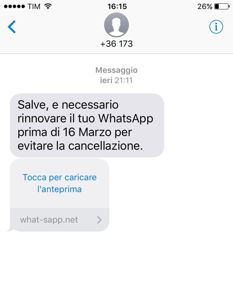 l'sms incriminato, è una truffa