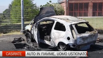 Casirate, auto in fiamme: ustionato 41enne