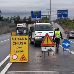 Frana sull'Asse interurbano Riaperto il tratto Mapello-Locate
