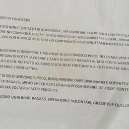 Lettera «per i ragazzi di Villa Jesus» Dentro una maxi offerta per i migranti