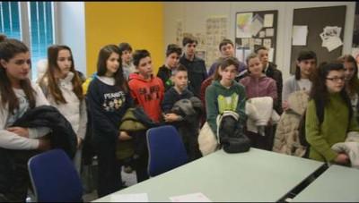 I ragazzi delle medie Brolis di Mozzo in visita a L'Eco di Bergamo