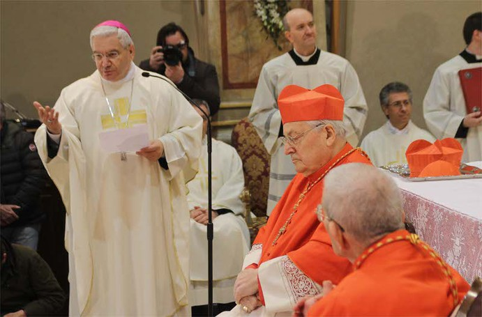 Il vescovo Francesco Beschi, il cardinale Angelo Sodano e di spalle il cardinale Loris Capovilla