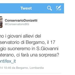 I ragazzi del Conservatorio Donizetti a Papa Francesco: vieni il 17 maggio?