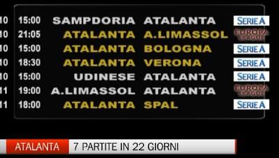 Atalanta, sette partite in ventidue giorni
