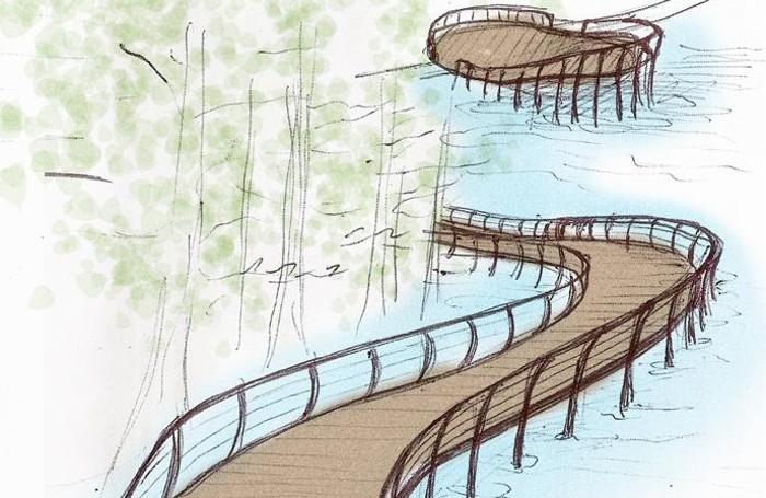 il disegno di una passerelal nel parco tassodi di Paratico