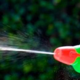 Bravate con la pistola d'acqua  Ma in auto ha un bastone di un metro