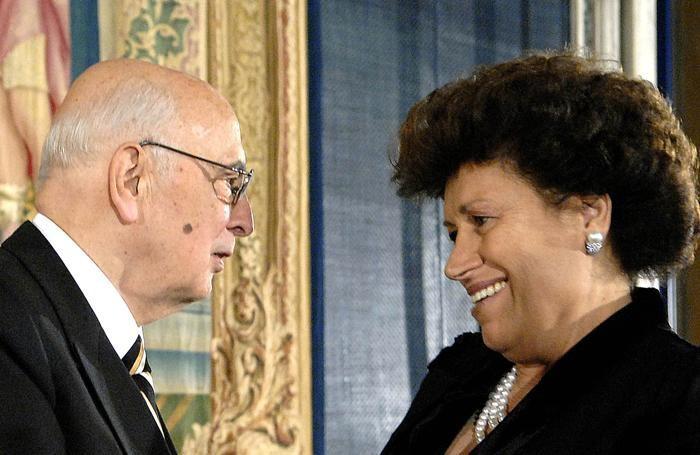 Carla Fendi con l'ex presidente della Repubblica,. Giorgio Napollitano