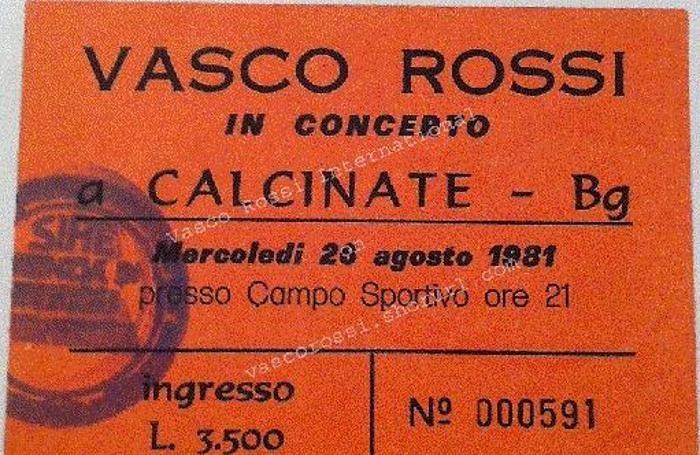 Il biglietto del concerto di Vasco a Calcinate
