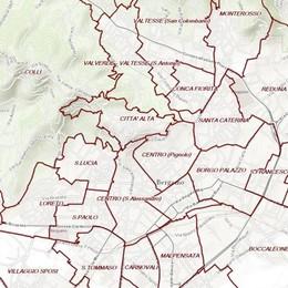 Quartieri di Bergamo, mappa interattiva Confini, al via le proposte dei cittadini
