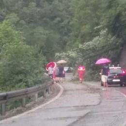 Val Seriana, alberi sulla strada Bracca, cade un masso: strada chiusa