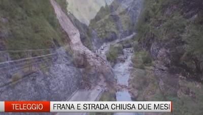 Frana Taleggio, strada chiusa per due mesi
