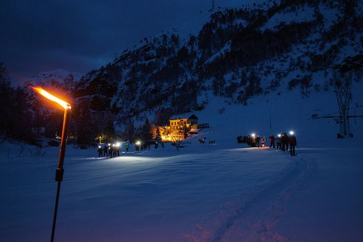 Ciaspole by night in Val Biandino