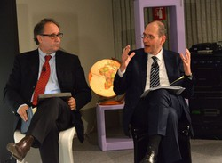Da sin. Giorgio Gandola e Nando Pagnoncelli nella serata finale dell'Ecolab