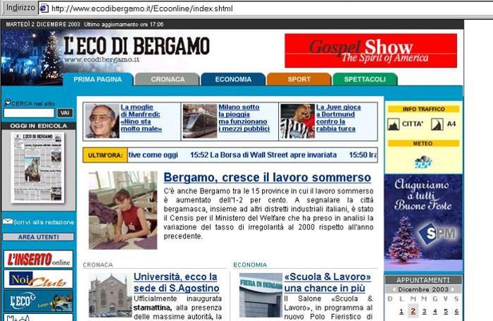 Una pagina del nostro sito nella sua veste che ha debuttato nell'ottobre del 2002