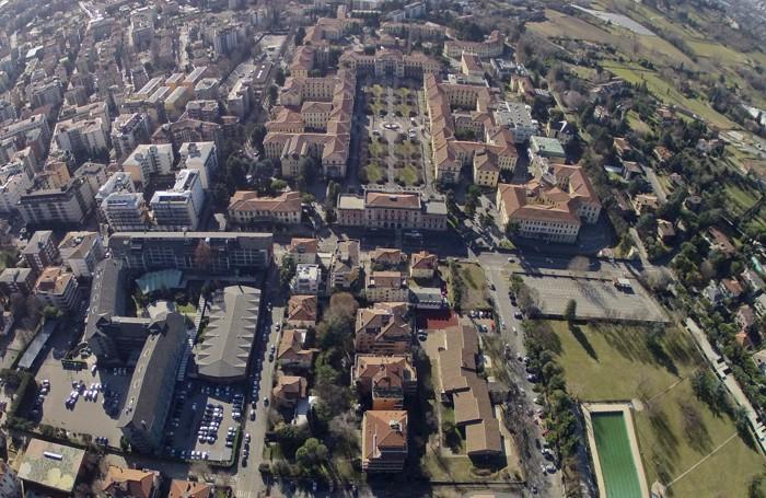 Veduta area degli ex Ospedali Riuniti di Bergamo e della sede dell'Accademia della Guardia di Finanza