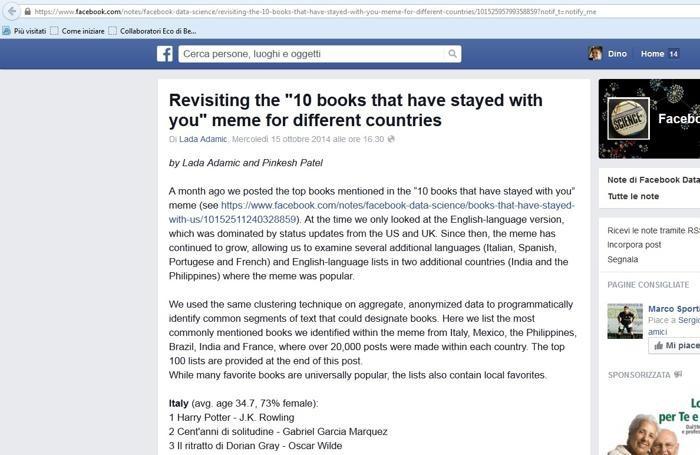 Il post su Facebook