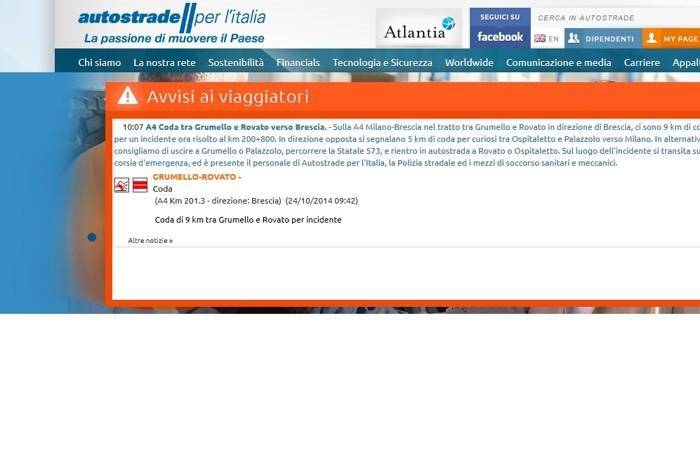 La situazione sul sito di Autostrade per l'Italia