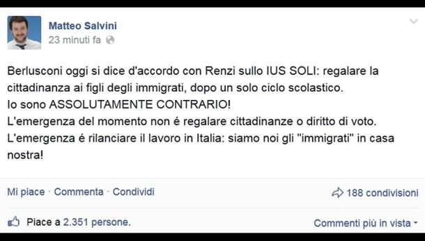 Salvini, cittadinanza solo a 18 anni