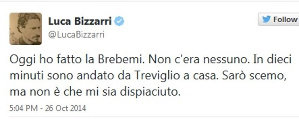 «Brebemi, non c'era nessuno» Il tweet dell'ex «Iena» Luca Bizzarri
