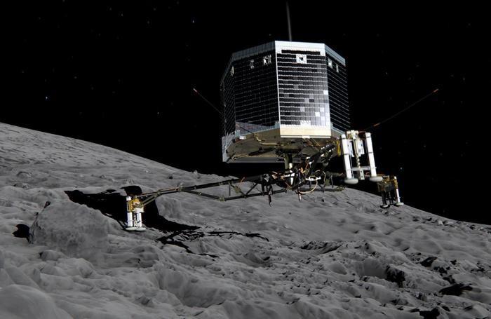 Un rendering del lander Philae dopo che si è separato dalla navicella Rosetta e scende sulla superfice della cometa 67P/Churyumov-Gerasimenko
