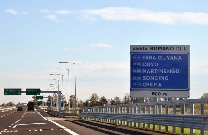 Uscita della Brebemi A35 a Romano di Lombardia