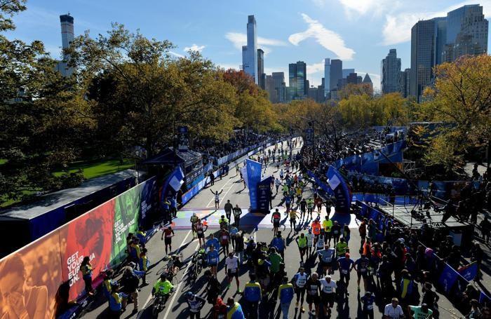 La linea del traguardo della maratona di New York