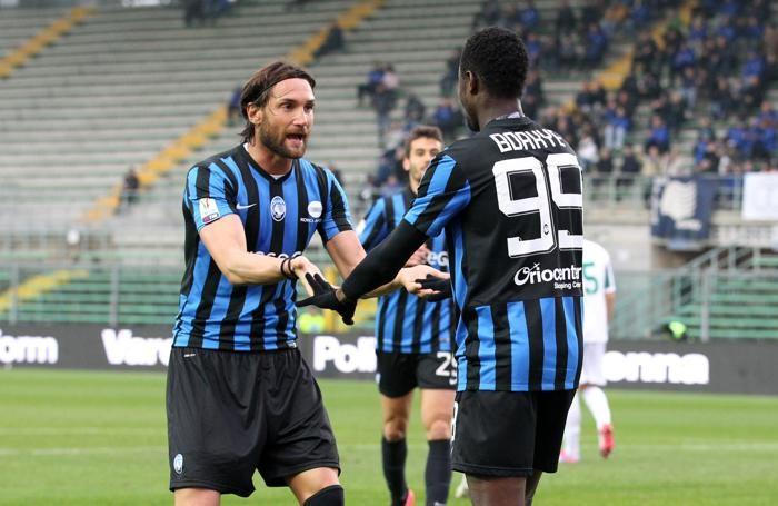 Bianchi e  Boakye dopo il gol del 2-0