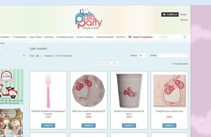 La homepage di palaparty.it