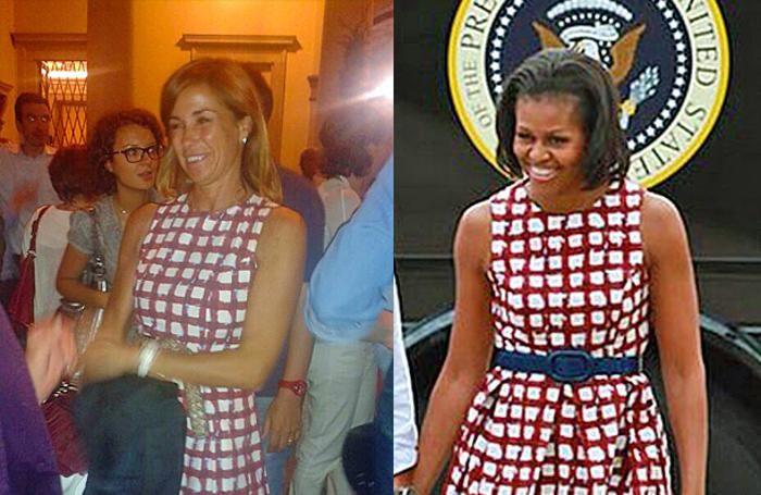 Cristina Parodi e Michelle Obama con lo stesso abito