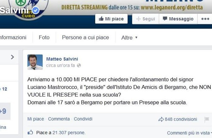 La pagina Facebook di Matteo Salvini