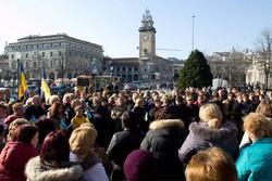 La manifestazione degli ucraini a Bergamo
