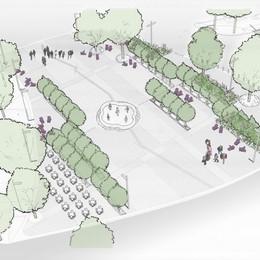 Aree di ristoro e «boschi» lineari  Piazzale Marconi,  il nuovo volto