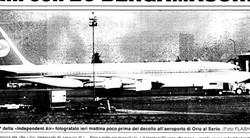 L'aereo poco prima della partenza da Bergamo in una foto di un storico collaboratore de L'Eco di Bergamo, foto Flash, Gianni Colleoni