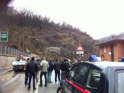 Frana in Valle Imagna all'altezza di Ponte Giurino