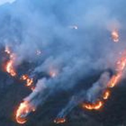 Il monte Secco in fiamme  Chiusa la provinciale 49