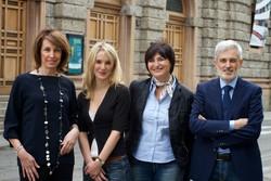 Nella foto da sinistra Nadia Ghisalberti, capolista del Patto Civico, con i candidati Federica Bruni, Rosa Leo, Marco Berlanda