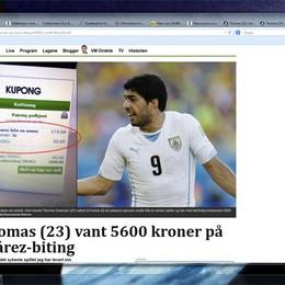 Scommettiamo che... Suarez morde?  In Norvegia vincita da 5.600 corone