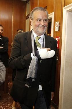 Roberto Calderoli in Commissione Affari Costituzionali durante l'esame del DDL sulle Riforme