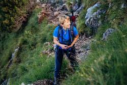 L'alpinista sul sentiero delle Grigne