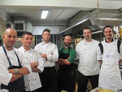 In cucina, da sinistra, Perico, Cuomo, Normanni, Rodeschini, Asperti e Bescapè