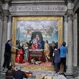 La pala di Lotto restaurata  è ritornata a Santo Spirito