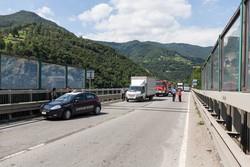 L'incidente stradale sul viadotto tra Campana e Botta di Sedrina