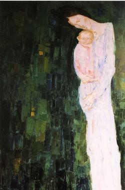 Madre su fondo verde (Humana Pictura. 7) dipinto di Trento Longaretti