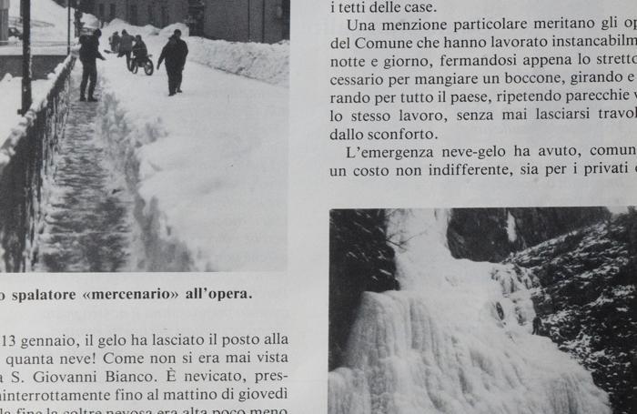Un'immagine tratta dal Bollettino parrocchiale di San Giovanni Bianco uscito per la nevicata