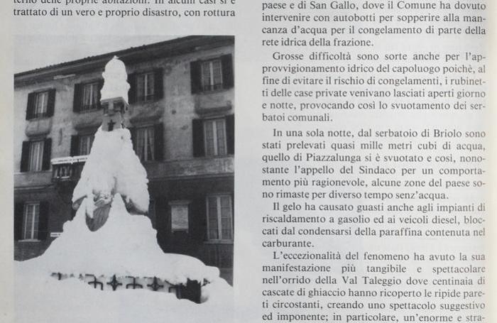 Uno scatto tratto dal Bollettino parrocchiale di San Giovanni Bianco in occasione della nevicata