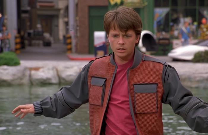 L'attore Michael J. Fox in una scena del fil «Ritorno al futuro»